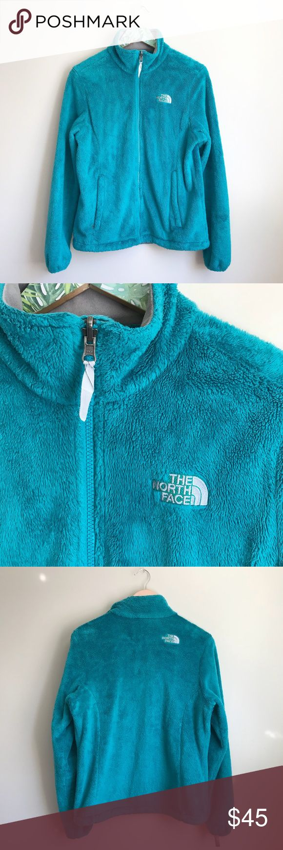 north face osito teal fuzzy soft jacket sz m north face