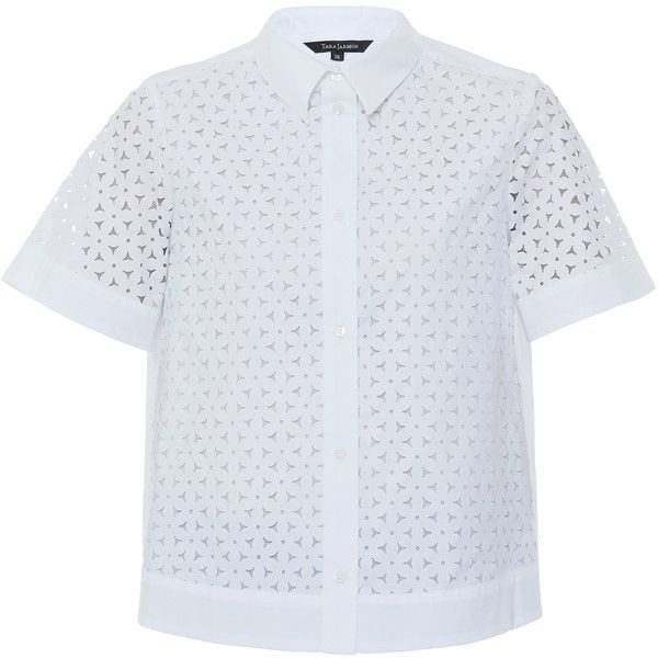 Tara Jarmon Laser-cut Cotton Blouse ($160) ❤ liked on Polyvore featuring tops, blouses, white, white short sleeve shirt, collared shirt, short sleeve shirts, short sleeve tops and shirts & blouses