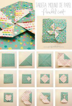 Cómo hacer tarjeta con forma de molinillo de papel | Aprender manualidades es facilisimo.com