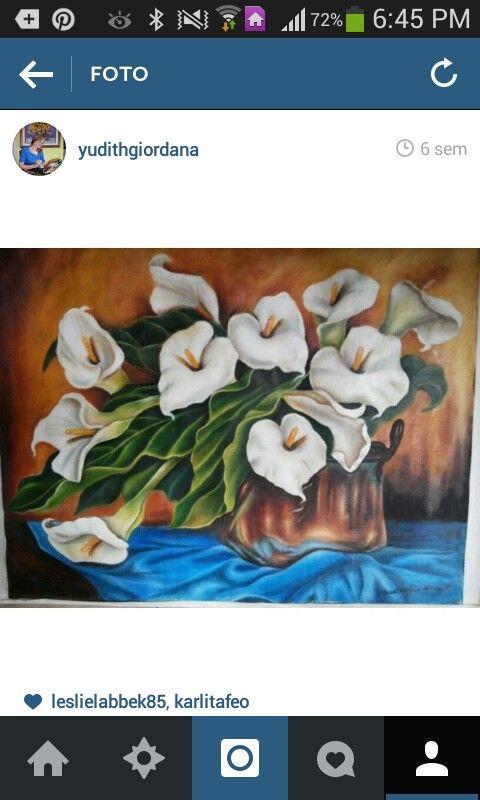 Mi pintura al óleo,flores en bodegón,calas,alcatraces,cartuchos.