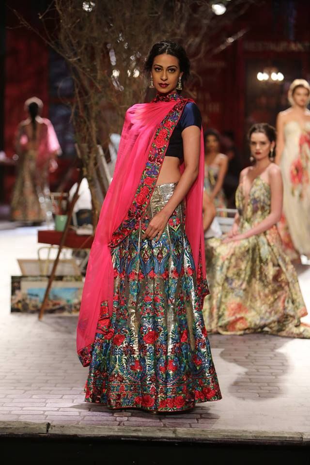Monisha Jaising at India Couture Week 2014 - midnight blue and pink paneled lehenga