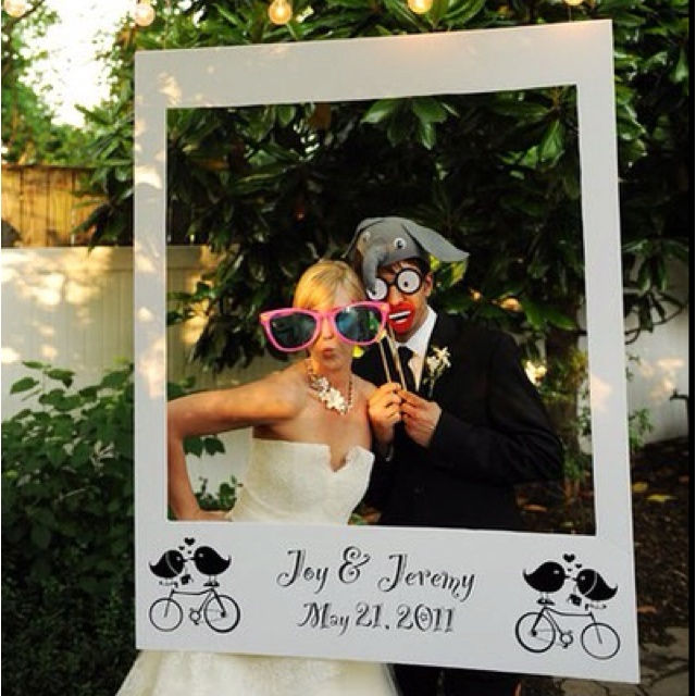 How easy and fun would this be to make and place somewhere with a throw away camera and let people take funny pictures posing with it all night. It's a photo booth opportunity at a fraction of the cost!