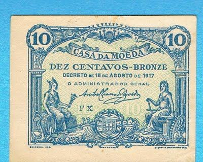 Notas de Portugal e Estrangeiro World Paper Money and Banknotes: Portugal 10 Centavos 1917