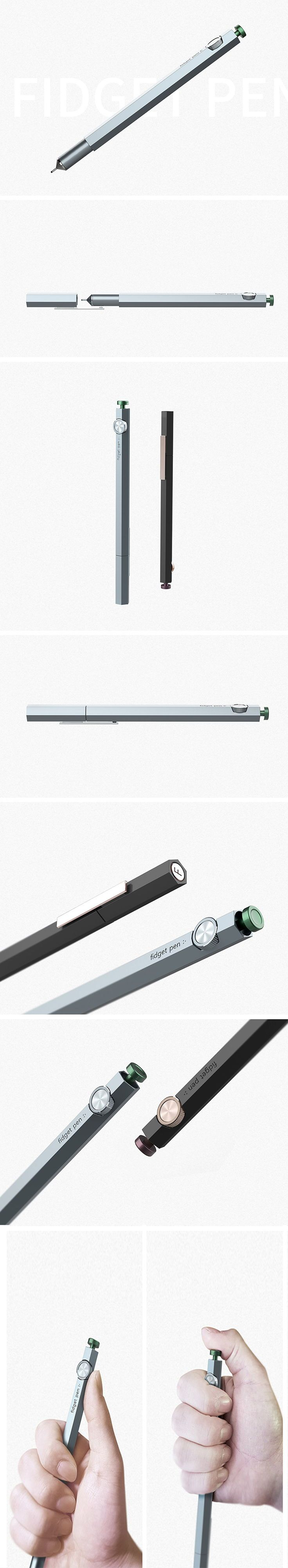 The Fidget pen is here. Integrated into the end of the pen, a finger fidget mechanism allows users to turn the wheels, press buttons and feel the intaglio to their subconscious heart's content! Because it doubles as a writing utensil, it will have twice the chance of staying with the user.
