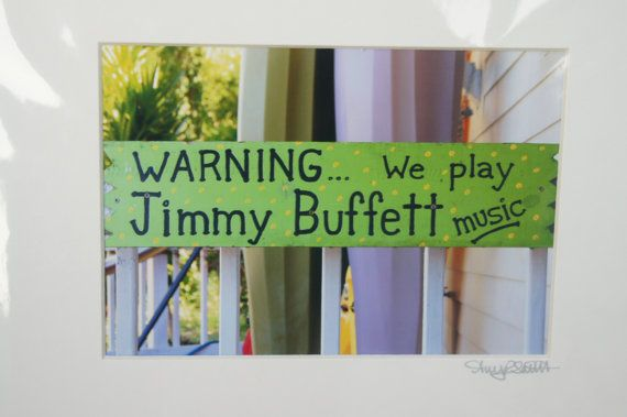 Key West sign Jimmy Buffett music photo 5x7, signed and matted