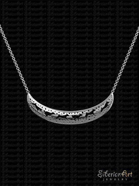 Collar de media luna de Basenji 3D  plata