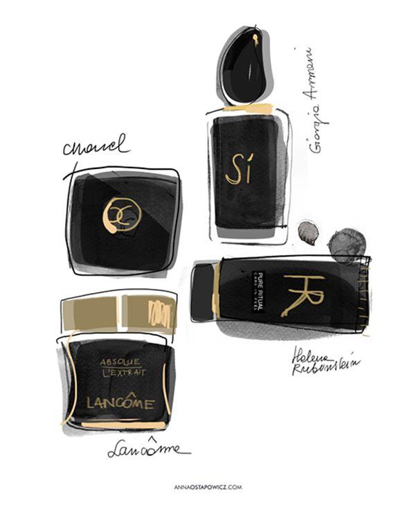©annaostapowicz.com, #illustrations, #beauty, #cosmetics, #armani, #perfume, #chanel, #lancome,