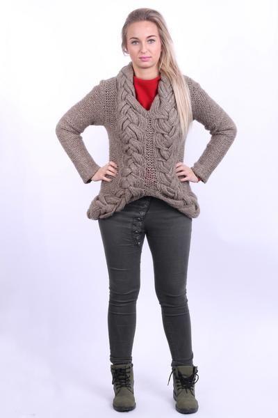Armani Jeans Womens 14 M / L Jumper Sweater Khaki Long Plaited Knit - RetrospectClothes