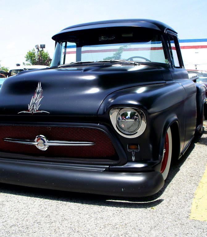 57 Chevy truck, satin paint with the hint of pin striping - nice touch to chrome the head light ring