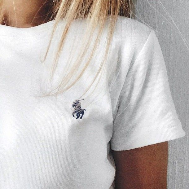 t-shirt ralph lauren top white summer designer tumblr blanc bleu marine shirt…