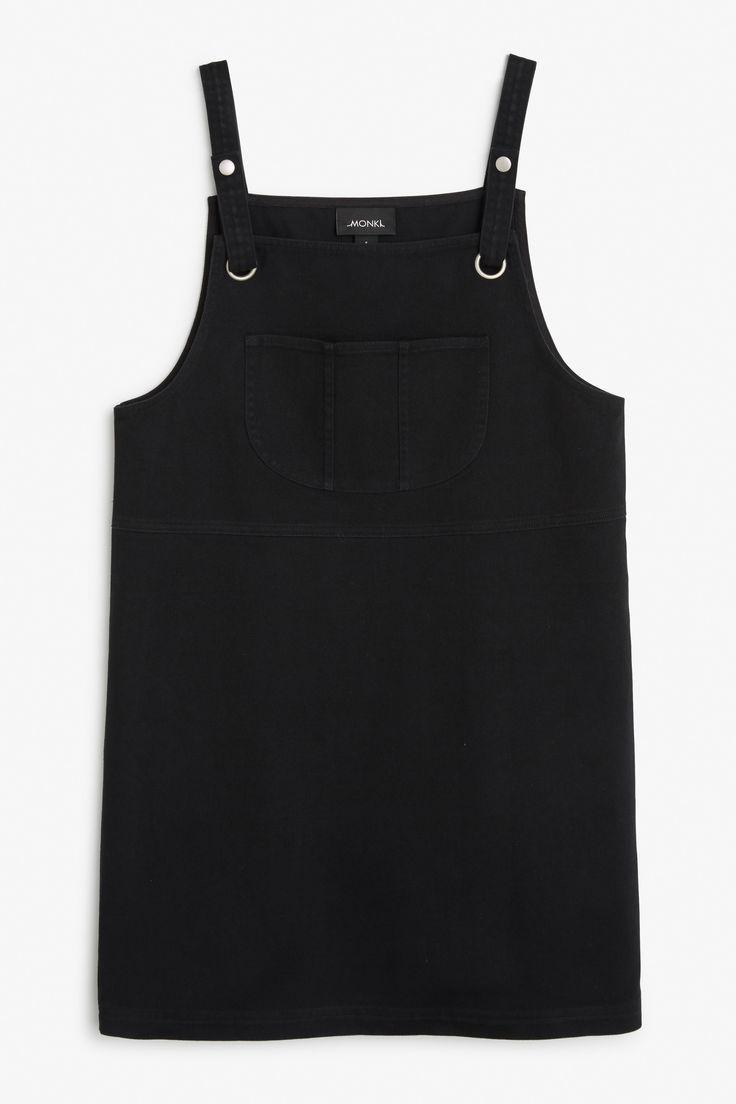 White apron pinafore - Monki Image 1 Of Denim Pinafore Dress In Black