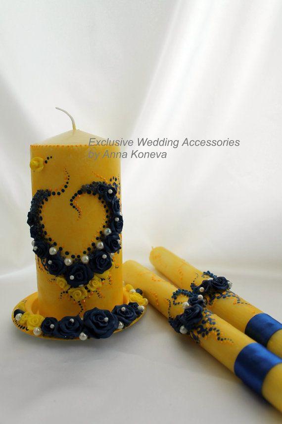 Элегантный свадебное единство свеча установленная в желтый, золотой и синий, свадебной церемонии единства, свадебные свечи.