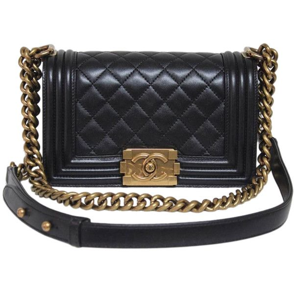 Pre-Owned Chanel Small Black Leather Pearly Le Boy Bag ($5,198) ❤ liked on Polyvore featuring bags, handbags, black, courier bag, leather purse, pre owned handbags, leather handbags and black handbags