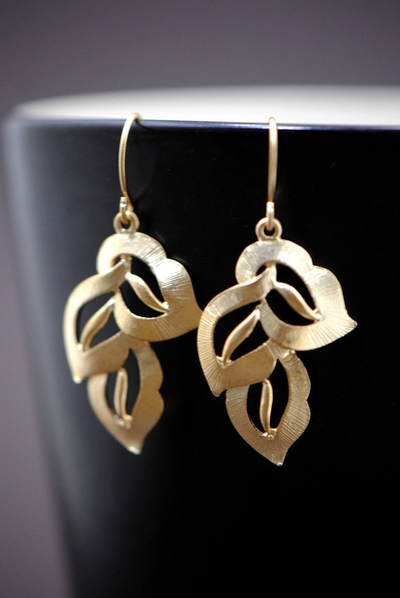 Leaf Earrings GOLD  Bridal Party Gift Idea by SilverLotusDesigns, $18.00