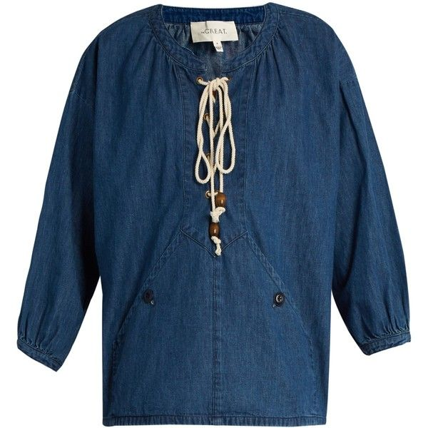 The Great The Rope denim top ($390) ❤ liked on Polyvore featuring tops, denim, lace up front top, loose summer tops, lace up top, nautical tops and loose fit tops