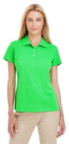 adidas A131 Ladies' ClimaLite Basic Pique Polo Solid Polo Golf Shirt Solar Lime Whte Medium