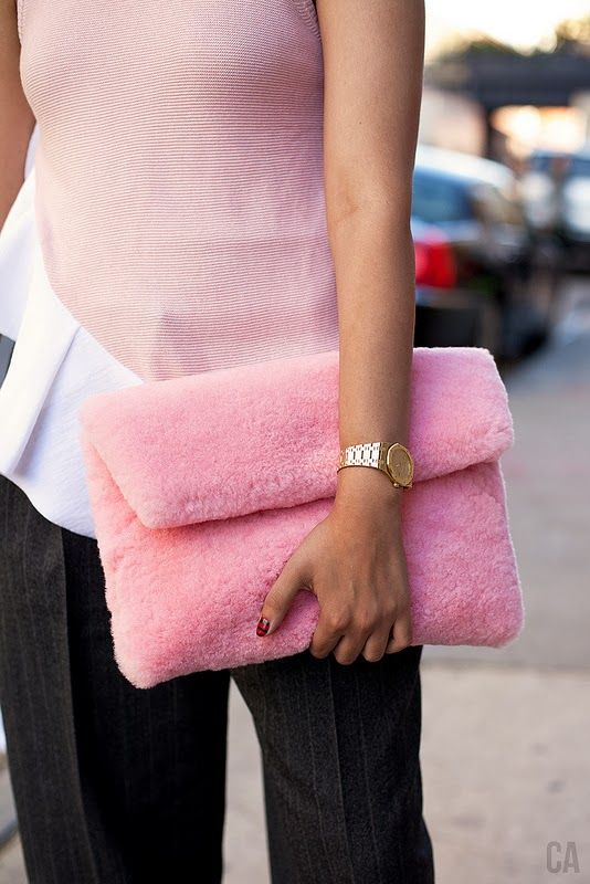 Pastel Shearling Armcandy A Portable Package Bags For Schoolpink