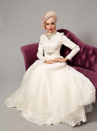 Embellished Evening Dress - Ecru - Armine