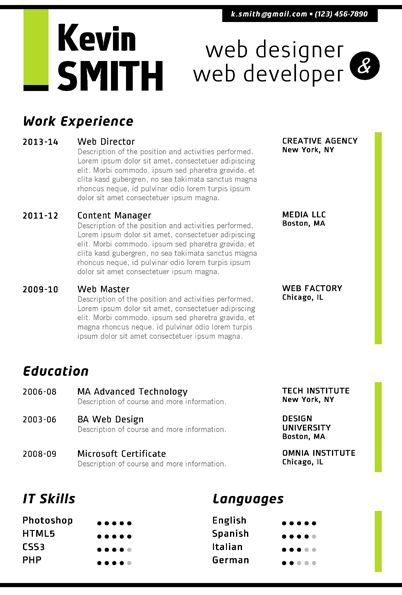 7 best Web Designer Resume Template images on Pinterest Creative - sample resume in word format