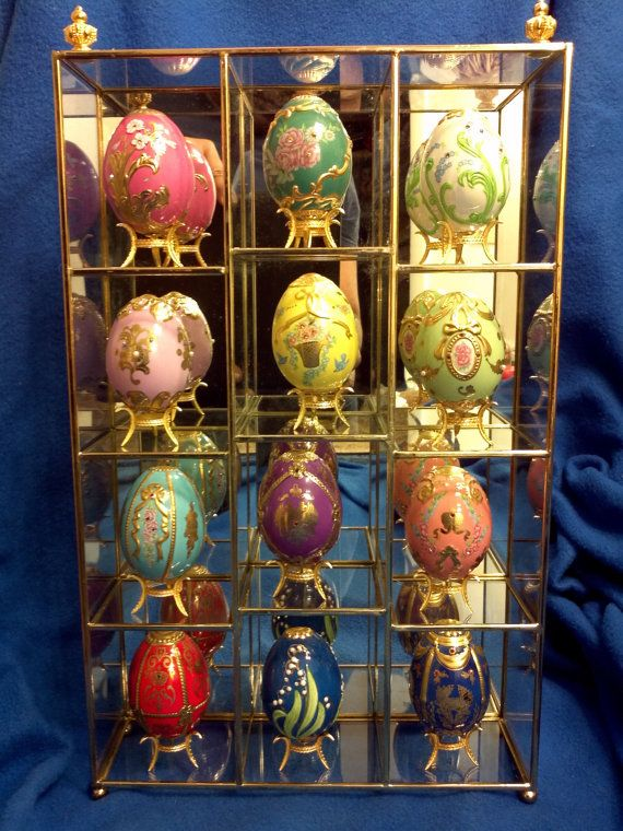 12 Faberge Eggs with rare Display Case by SteanFinds on Etsy, $5899.00