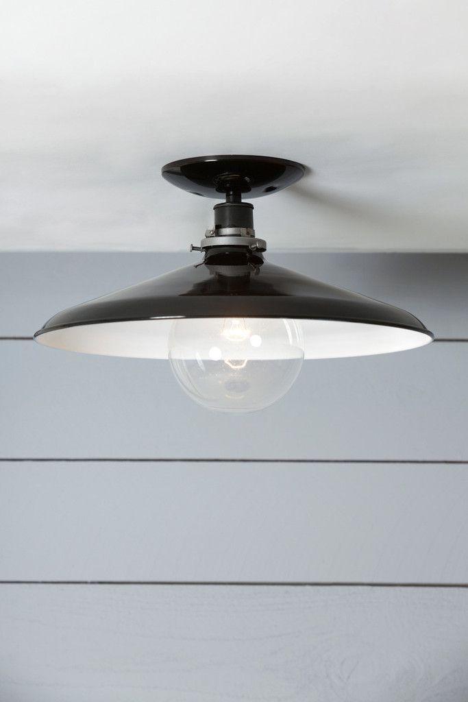 Industrial ceiling mount light 14in black metal shade lamp semi flush mount