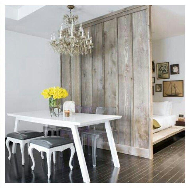 small apartment design idea studio condo idea decor rustic wood false wall room divider. Black Bedroom Furniture Sets. Home Design Ideas