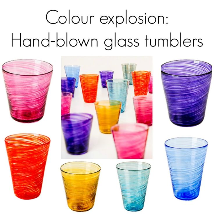 I adore these hand-blown Madras glass tumblers - gorgeous colours! (available from The Conran Shop)