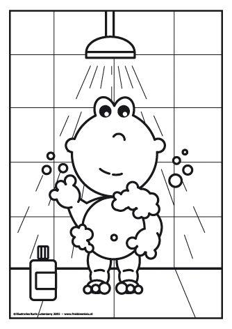 Frokkie staat onder de douche.