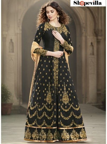 Blooming Black Color Bangalore Silk Designer Anarkali Suit-1501-Black