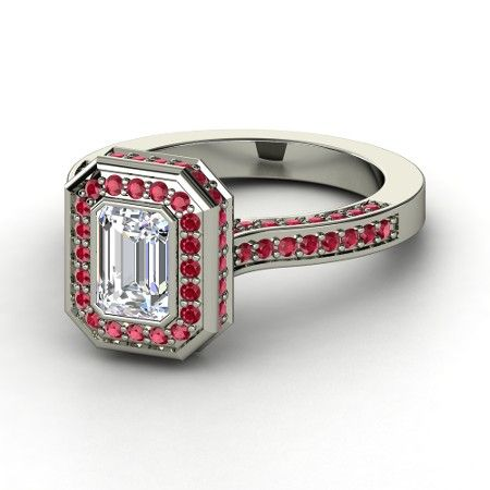 Looks like a Block O to me!   Emerald-Cut Diamond Sterling Silver Ring with Ruby | Savannah Ring | Gemvara