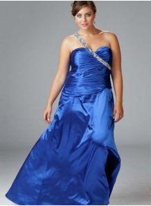 NIKOL - Evening dresses Plus size Sheath/Column Floor length Stretch satin One shoulder Occasion dress