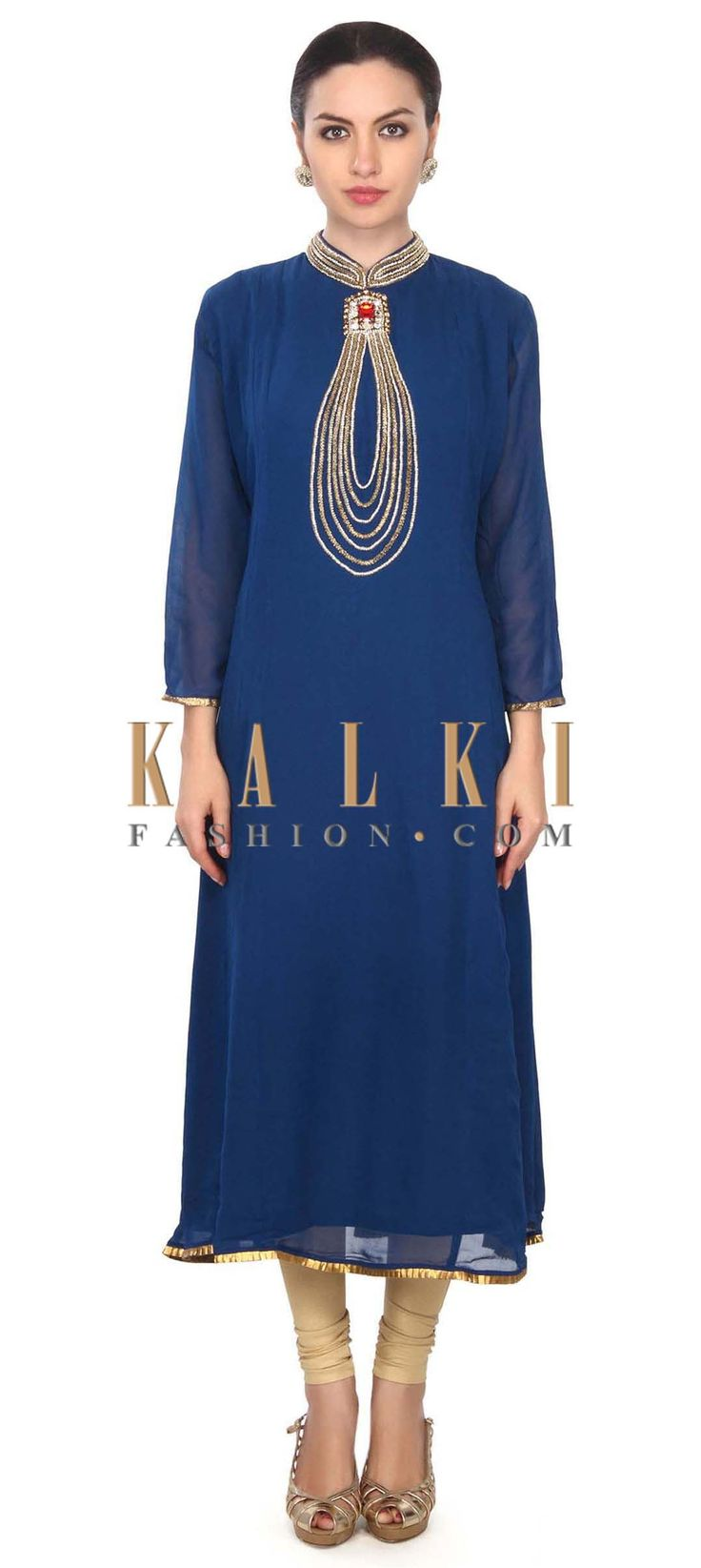 Buy this Royal blue kurti features with embellished collar only on Kalki