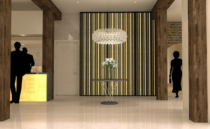 Boutique Hotel foyer concept.  Heritage building with contemporary interior and sustainable features.