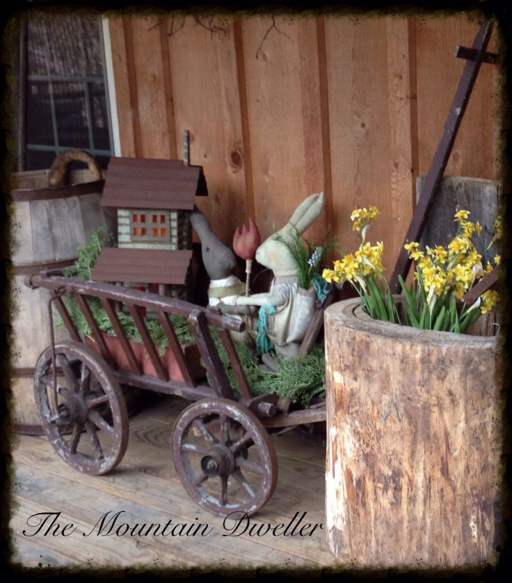 Spring Porch Rustic Decor: wagon, wood & goodies