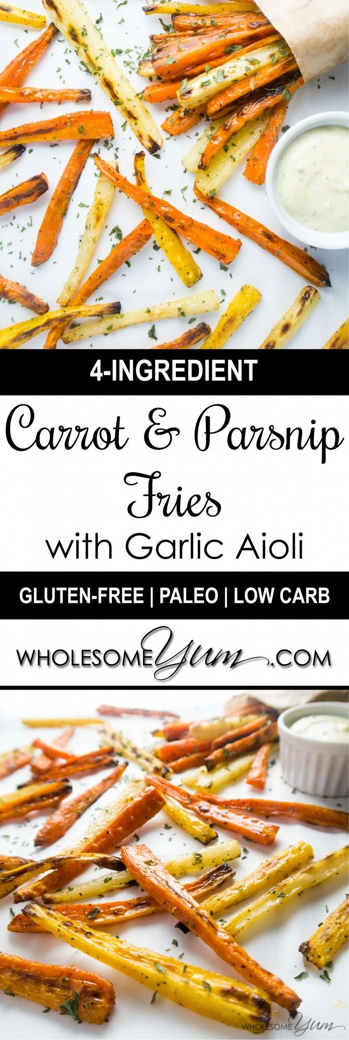 Carrot & Parsnip Fries with Garlic Aioli (Low Carb, Gluten-free)