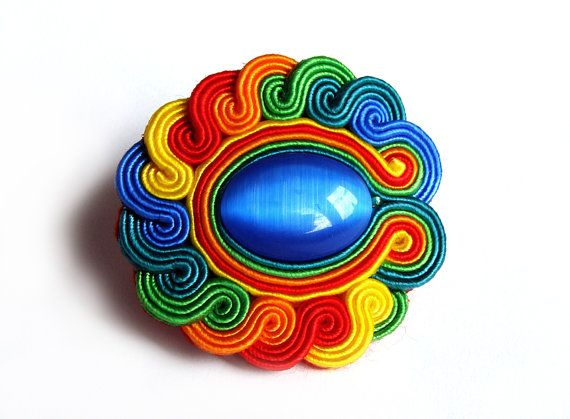 Multicolor RAINBOW soutache RING statement ring knuckle-duster colorful green blue red yellow orange