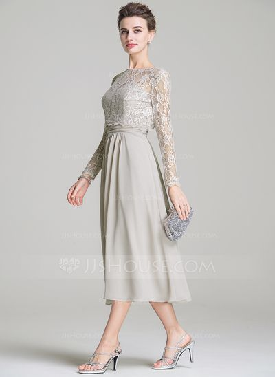 [US$ 120.99] A-Line/Princess Sweetheart Tea-Length Chiffon Mother of the Bride Dress With Ruffle (008072687)