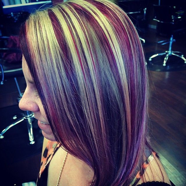 violet with lime highlights