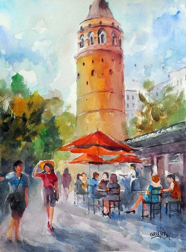 FARUK KÖKSAL - SULUBOYA ÜZERİNE HERŞEY: Galata'da Öğlen - Suluboya - Watercolor Painting