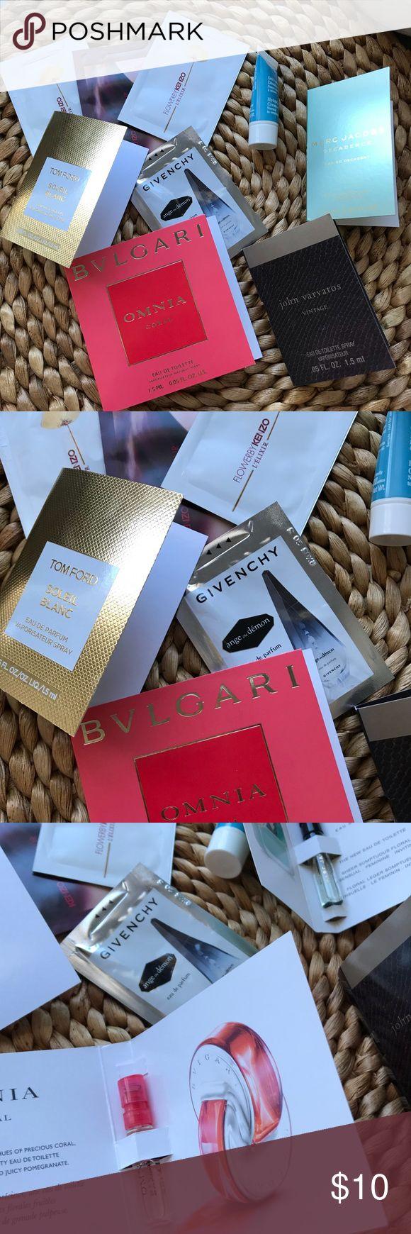 ▪️Bundle sample▪️ I'm selling sample fragrances never used  -BVLGARI omnia ( $1.50) -TOM FORD soleil blanc ($2) -MARC JACOB decadence ($2) -2 KENZO FLOWERS 🌸 ($1)  -KENZO JEU D'amour  - GIVENCHY ($1) -JOHN VARVATOS  BONUS clarins cream gel Tom Ford Makeup