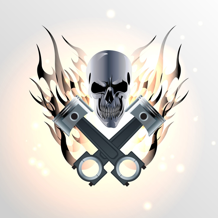Tattoo with skull pistons and flames tattoos for Skull piston tattoo