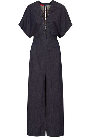 1c5dc3c61c Tamara Mellon - Lace-up stretch-denim maxi dress