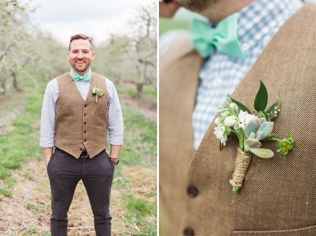 Lovely rustic groom's look with succulent boutonniere