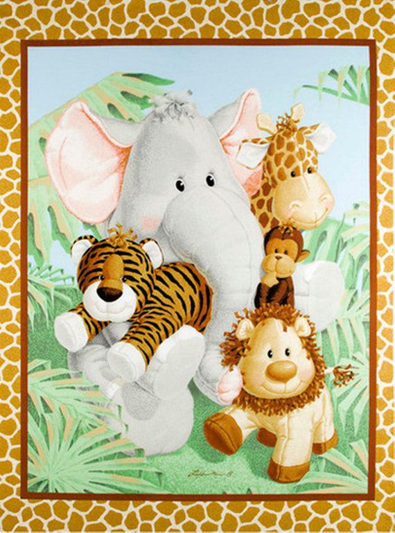 Jungle Babies Fabric Patty Reed Quilt Blanket Wall Hanging Cheater Panel Elephant