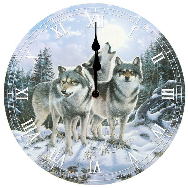 Midnight Wolves Picture Clock !FREE UK P&P!