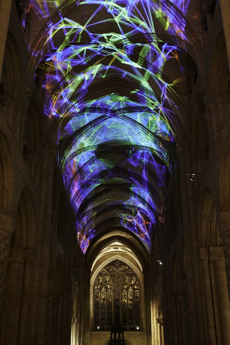 Complex Meshes 2015: Miguel Chevalier (France) A monumental interactive projection brought new light to the ribbed vault ceiling at Durham Cathedral Lumiere Durham 2015 Photo by Matthew Andrews