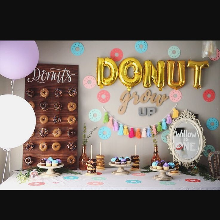 First Birthday Donut Grow Up Dessert Table Donut Wall Colorful Donut Birthday Parties Donut Themed Birthday Party First Birthday Brunch