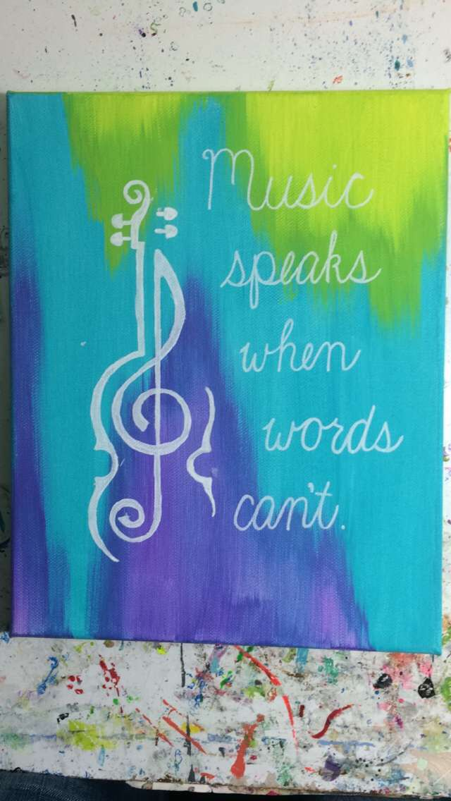 Violin treble clef. Canvas painting with quote.
