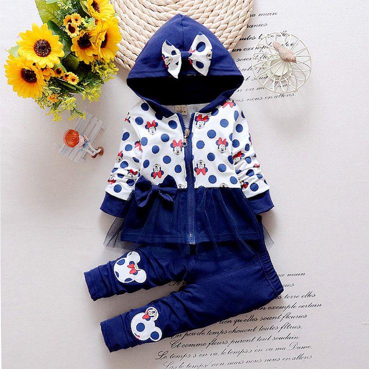 2016 più nuova primavera neonate minnie vestiti coreani casuali bambini in cotone con cappuccio coat + pants 2 pz infant/neonato copre i vestiti