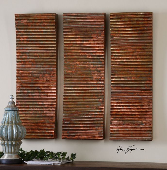 Uttermost Adara Copper Wall Art   Set Of 3   X In.   Bring An Industrial  Curve Into Your Home With The Uttermost Adara Copper Wall Art   Set Of 3    X In.